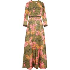 Roksanda Kamanev leather-trimmed floral-print silk-twill gown (€955) ❤ liked on Polyvore featuring roksanda