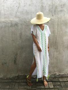 Weißer Kaftan langes Kleid Sommer Gypsy Hippie von stylepark1