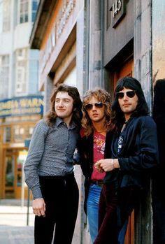 John Deacon, Roger Taylor & Freddie Mercury, 1974.