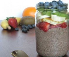 Mint chocolate chia pudding with mixed fruit. Taste the rainbow!