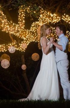 DIY string globes with tree lights at outdoor wedding.