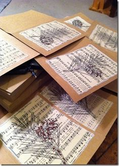 How to make a recycled card. Sheet Music Christmas Cards - Step 10