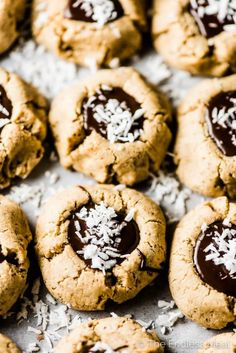 SAVE FOR LATER! Chocolate Almond Thumbprint Cookies are the ultimate healthy treat. They're soft like shortbread, filled with chocolate, and are made without grains or refined sweeteners. You'll never guess they're a healthy cookie recipe. Paleo Cookies, Healthy Cookie Recipes, Almond Cookies, Healthy Treats, Vegan Treats, Vegetarian Recipes, Keto Friendly Desserts, Low Carb Desserts, Healthier Desserts