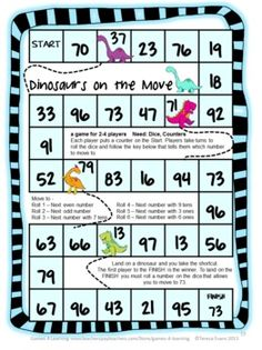 Dinosaurs on the Move a Place Value Board Game for 2 Digit Numbers by Games 4 Learning This is a set of 15 printable Place Value Games for 2 Digit Numbers. $