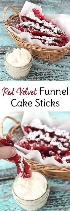 Whether you call them funnel cake fries or funnel cake sticks, this copycat recipe of the fair food is served red velvet-style with cream cheese frosting.