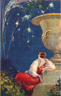 Postcard - Woman in red dress watching fireworks by Tito Corbella - Art Deco Art Deco Illustration, Vintage Illustrations, Painting Illustrations, Art Nouveau, Vintage Cards, Vintage Postcards, Art Quotidien, Halloween Vintage, Sculpture Textile