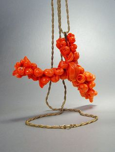 Antique Victorian Coral Pendant Necklace Carved by sodear2myheart, $189.00