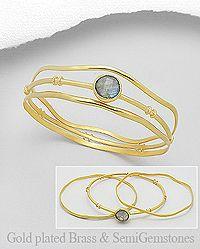 Turquiose 18k Gold Plated Brass 65 Cms Stackable, Bezel Handmade Bangles /& Bracelets