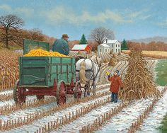 """John Sloane -- """"Room For One More?"""" , helping out with the harvest with an early season snowfall, everyone pitched in. Farm Paintings, Landscape Paintings, Farm Pictures, Creation Photo, Farm Art, Step By Step Painting, Country Art, Country Life, Naive Art"""