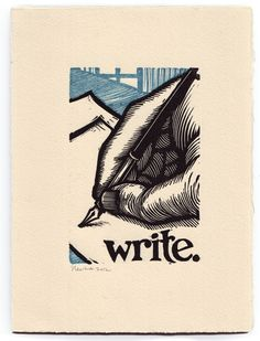 Write. - Block print by Peter Nevins