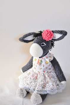 Handmade Crochet Dolls by LinaMarieDolls on Etsy // crochet donkey, ooak toy, keepsake toy, original design, crochet girl donkey, vintage dress, vintage lace, handmade dolls // Instagram: linamariedolls