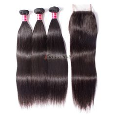 Straight Brazilian Hair Bundles With Closure