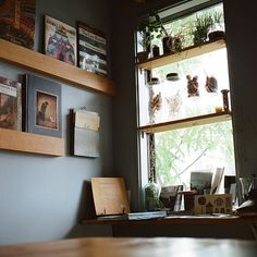 simple window shelves & display shelving for books. I can build this...