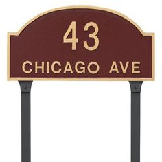 Montague Metal Products Dover Arch Two Line Standard Address Plaque with Lawn Stakes Finish: Antique Copper/Copper