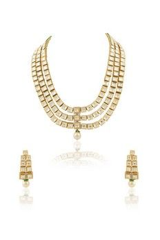 Three lined vilandi set with pearl drop and American diamond from #Benzer #Benzerworld #Jewelry #VilandiSets