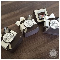 Bildergebnis für stampin up mini nutella Scrapbook Box, Scrapbooking, Nutella Gifts, Stampin Up, Wedding Cake Cookies, Sweet Box, Wedding Boxes, Craft Box, Little Boxes