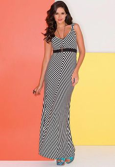 9e454457ca Maxi-mize your style with this black   white stripe knit maxi dress! Women  Fashion Designers · Women Clothing Stores