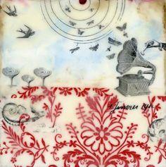 Angela Petsis | How Stars Are Born | blue encaustic paint and encaustic medium with ephemera /sm
