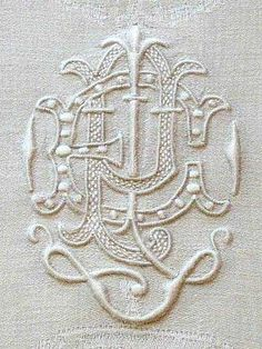 ⌖ Linen & Lace Luxuries ⌖ vintage monogrammed linen damask