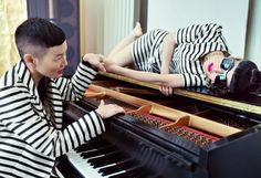 Fashion entrepreneur and street style muse Michelle Harper and Elite agent and iconic model Jenny Shimizu are photographed in their family home and in the streets of NYC. The couple wore looks filled with stripes, houndstooth patterns, pinks and greens, demonstrating that personal style is all in the details – the way a blazer is worn, pumps versus flats, jewellery, makeup - these personal touches highlight their individuality, fearlessness and elegance.