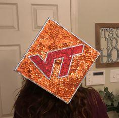 Virginia Tech grad cap, VT grad, graduation Graduation Cap Designs, Graduation Cap Decoration, Grad Cap, Graduation Caps, Vt Football, College Aesthetic, Virginia Tech Hokies, Cap Decorations, Artsy Fartsy