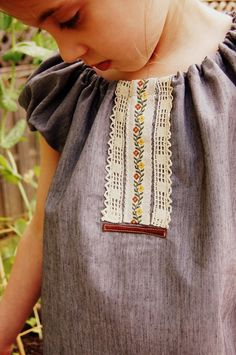 Girls Peasant Top - size 5 - 6, handmade, clothing, blouse, vintage trim. $26.00, via Etsy.