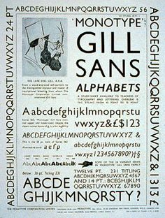 Eric Gill designed Gill Sans in 1927 Typo Poster, Poster Fonts, Print Fonts, Calligraphy Letters, Typography Letters, Lettering, Type Design, Layout Design, Print Design