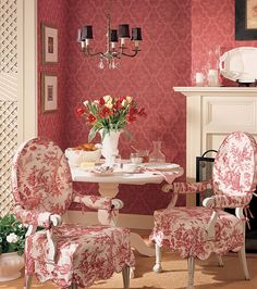 "Beautiful Spot for Tea. Beautiful Toile Chair Fabric. Thibaut Damask Wallpaper - ""Mulberry"". | ThibautDesign.com"