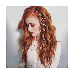 Katherine McNamara Debuts a Fierce Braid for Her Latest Photo Shoot ❤ liked on Polyvore featuring beauty products, katherine mcnamara, hair, shadowhunters, people and faces