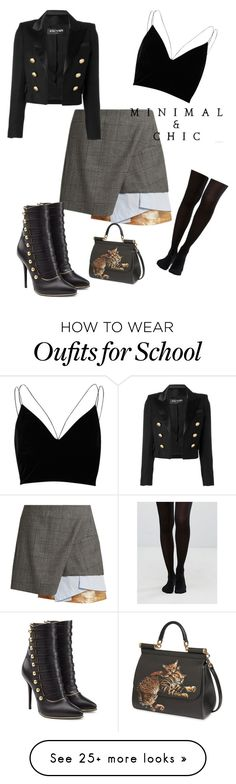 """""""School girl"""" by tamzkerre on Polyvore featuring Toga, River Island, Balmain, Dolce&Gabbana and Jonathan Aston"""