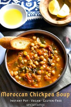 An easy dump and start Instant Pot recipe for a hearty and flavorful Moroccan Chickpea Soup. Creamy Chickpeas cooked with warm spices like cumin, coriander, cinnamon and paprika give this vegan and gluten-free soup it's iconic bold and rich taste. Vegan Crockpot Recipes, Easy Soup Recipes, Chili Recipes, Vegetarian Recipes, Cooking Recipes, Healthy Recipes, Vegan Vegetarian, Garbanzo Bean Recipes, Lentil Recipes