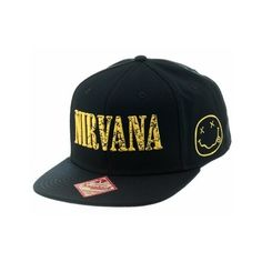 Nirvana Logo Snapback Hat ($10) ❤ liked on Polyvore featuring accessories, hats, logo snapback hats, logo hats, snap back hats and snapback hats