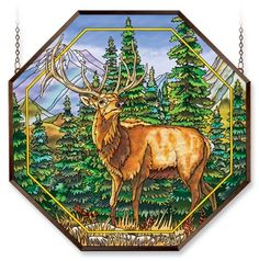 Amia 6476 Window Decor Panel, Meadows Edge Elk Design, Hand-painted Glass, 22-Inch W by 22-Inch L by Amia. $124.95. 22-inch w by 22-inch l. Hand-painted glass. Includes chains. Amia window decor panel, Meadows Edge Elk design.  Hand-painted glass.  Comes with an aluminum frame and chain for hanging purposes.