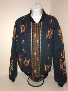 Vintage Comfy Casuals Puff Jacket Southwestern Zipper Works Western Coat #Comfy