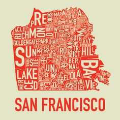 San Francisco Map: Saw this poster at Park Life, a gallery/shop in Richmond. Love that place, especially as it's named after the Blur song!