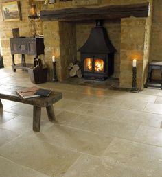 Antique Limestone Tile / flooring for kitchen Limestone Flooring, Natural Stone Flooring, Tile Flooring, Flooring Ideas, Laminate Flooring, Kitchen Tiles, Kitchen Flooring, Cosy Interior, Italian Tiles