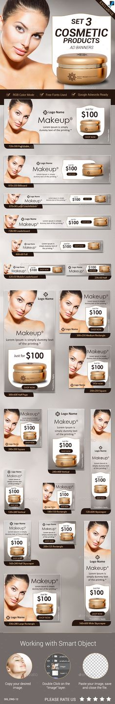 Cosmetic Product Ad Banners Set3 - Banners & Ads Web Elements Download here : https://graphicriver.net/item/cosmetic-product-ad-banners-set3/19592374?s_rank=70&ref=Al-fatih
