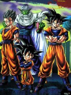 Piccalo, Goku, Gohan, and Goten