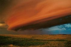 Shelf clouds over Saskatchewan, tinged orange by the rising sun.   Seeing a shelf cloud, as impressive as it might be, usually means one thing: run for cover!