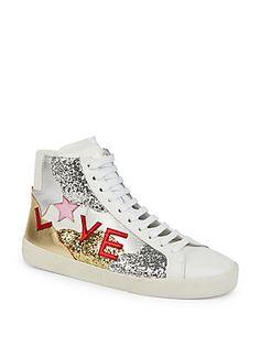Saint Laurent Court Classic Love High-Top Sneakers