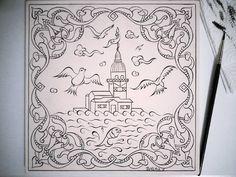 Fırçamdan Kızkulesi✏Boyamaya hazır ~~ #my #work #handmade #draw #tile #turkish…