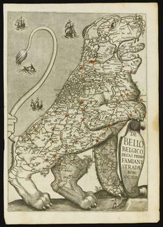 Leo Belgicus--Aitzinger, Michael von LEO BELGICUS. [COLOGNE: GERARD VAN KAMPEN, 1583], 370 X 455MM., SHAVED AT EDGES, WITH SLIGHT LOSS, [VAN DER HEIJDEN 1.1]