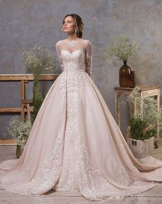 41204af9b97d 2019 Gorgeous Mermaid Wedding Dresses With Detachable Train Jewel Neck Lace  Appliqued Long Sleeve Bridal Gowns Custom Beach Wedding Dress