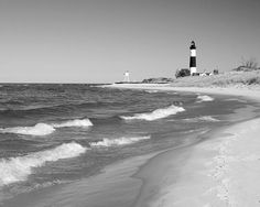 Big Sable Lighthouse Scenery - 8x10 black and white photo print - landscape photography Lake Michigan art home decor 11x14 16x20 20x30 by MFphotoart on Etsy--3 part of my wall collage.