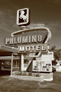 Route 66 - Palomino Motel, Tucumcari, New Mexico. In fine sepia.