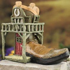 Miniature Cowboy Boot Fairy Garden Saloon
