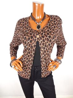 CHICO'S Womens Sz 3 L XL Top Animal Print Cardigan Blouse Casual Shirt Beads #Chicos #Blouse #Casual