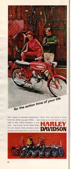 1967 Harley Davidson M65 motorcycle print ad 65 cc by Vividiom, $8.00