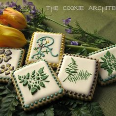 Ferns - decorated cookies by The Cookie Architect