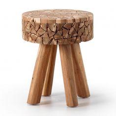 Taburete en mosaicos de madera de teka
